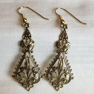 Gold Tone Ornate Earrings